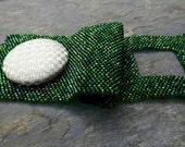 Bead Soup- Shades of Green, handmade beadwork cuff