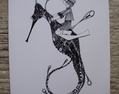 Boy Riding Seahorse Gift Card- Print of Original Illustration
