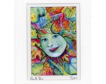 Rainbow Greenwoman Green Woman Forest Goddess Print 2 of 250