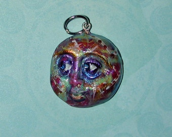 Man in the Moon styles Face Pendant Handmade  lots of Sparkles