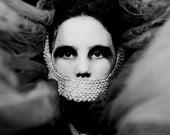 Clouded - FREE SHIPPING - Print Girl Pearls Gagged Fabric Smoke Fog Gray Black White Surreal Dark Eyes Photo Art