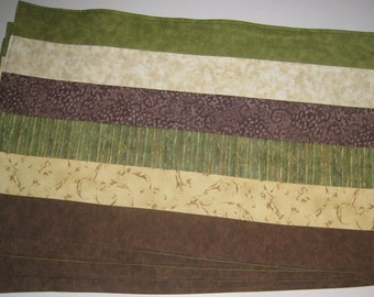 Earth Brown Beige and Green Set of 4 Placemats
