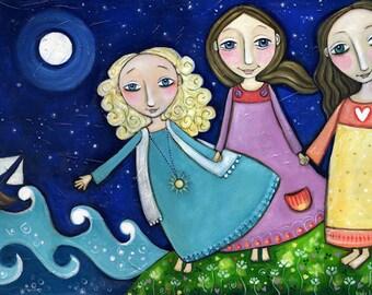 "Three Sisters Print One Blonde Two Brunettes Art Inspirational Whimsical Folk Art Nursery Childrens Art Gift for Sister Friend - 'Memory""'"