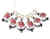 Red European Dragon Stitch Markers - set of six - US4