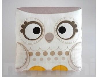 "Fall Decor, Decorative Pillow, Owl Pillow, Snow Owl, Woodland Animal, White Pillow, Cushion, Kawaii, Room Decor, Owl Decor, Toys, 7 x 7"""