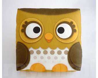 Decorative Pillow, Owl Pillow, Forest Owl, Woodland Animal, Brown, Throw Pillow, Cushion, Kawaii, Room Decor, Owl Decor, Gift, Toys, 7 x 7""
