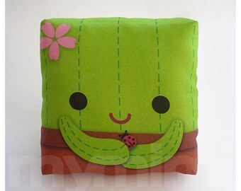 Decorative Pillow, Cactus Pillow, Throw Pillow, Green Pillow, Kawaii, Room Decor, Dorm Decor, Travel Pillow, Childrens Toys, 7 x 7""