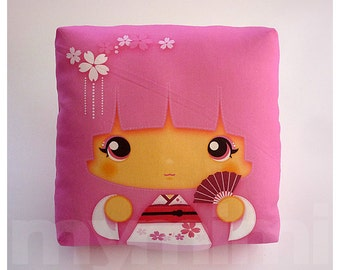Kawaii Girl, Girls Pillow, Geisha Pillow, Pink Pillow, Japanese Kokeshi Doll, Kawaii Print, Throw Pillow, Girls Room Decor, Dorm, 7 x 7""