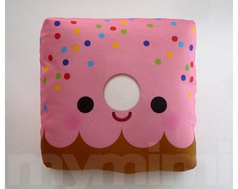 Decorative Pillow, Donut Pillow, Pink Donut, Rainbow Sprinkles, Throw Pillow, Kawaii, Cushion, Girls Room Decor, Childrens Toys, 7 x 7""