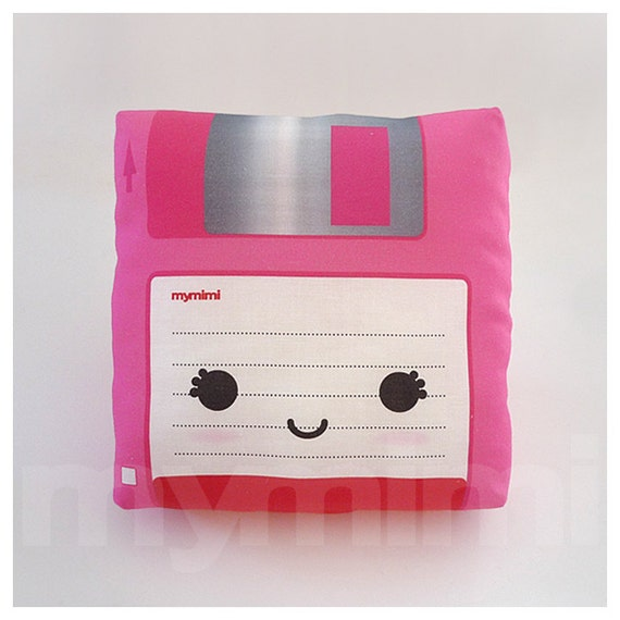 "Decorative Pillow, Floppy Disk, Nerdy, Geekery, 80's, Retro, Techie, Cotton Pillow, Throw Pillow, Room Decor, Office Decor, Cushion, 7 x 7"""