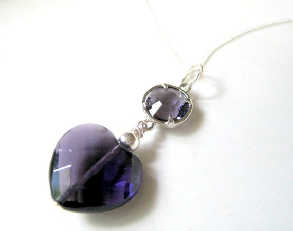 Amethyst Heart  Necklace - Deep Purple Crystal - Sterling Silver Chain - Semi Precious -  Midnight Love