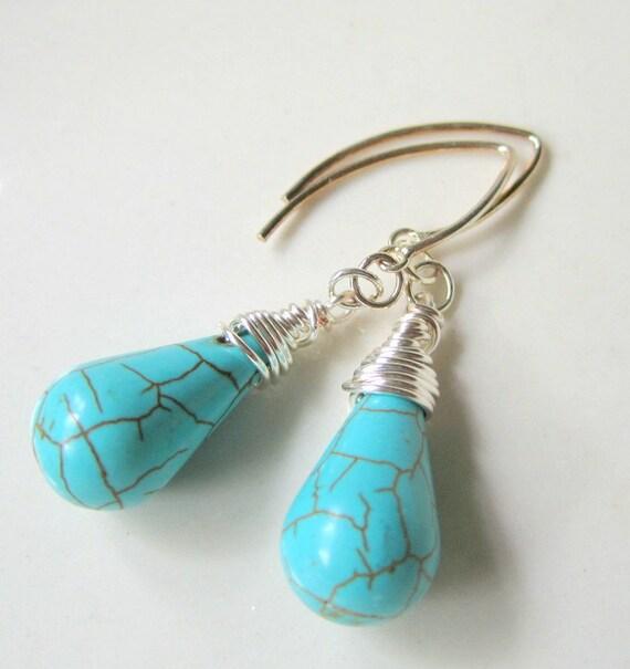 Wire Wrapped Howlite Teardrop Earrings, Semi Precious Stone Earrings, Turquoise