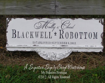 CUSTOM WEDDING SIGN or Business Sign, Rose Swag Design, Elegant Sign, Family Name Sign, Est. Sign, Wooden Sign