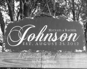 Custom NAME SIGN, Distressed Black, Vintage Wedding Signs, ESTABLISHED Name Sign, Vintage Modern Wedding Sign, Wedding Sign, Sign,  30 x 16
