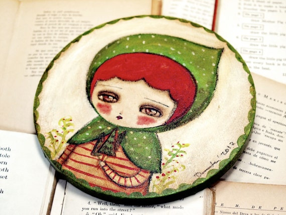 Little Green Riding Hood - Original Mixed Media Folk Art Whimsical Painting By Danita Art - 8 Inches On Round Canvas