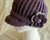 Brimmed Ribbed Beanie--Girls- Teens-Adults- Custom Made to Order-- You Choose Size and Colors