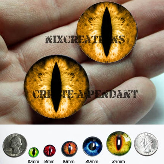 Glass Eyes - 24mm -  Taxidermy Orange Dragon Eyes Copper / Green Cabochons for Jewelry and Pendant Making
