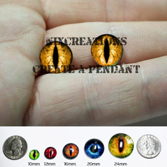 Taxidermy Glass Eyes - 10mm - Orange Dragon Eye Cabochons for Steampunk Jewelry and Pendant Making