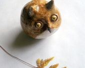 Golden Mustard  Owl, Stoneware Sculpture