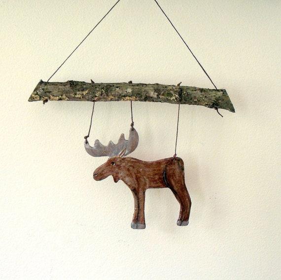 Rustic Stoneware Mountain Moose Wall Hanging or Mobile
