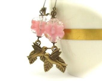 Dangle Earrings, Vintage Pink Flower Beads, Birds Leaves, Pink Bridesmaid, Vintage Givre Glass, Victorian Earrings, Bohemian Boho Woodland