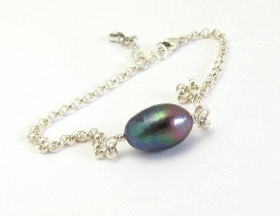 Pearl Silver Bracelet Sterling Silver Wedding Jewelry Stacking Hawaiibeads Friendship Bracelet