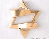 Faith Collection: Jazzy 14k Gold Magen David (with 18 inch black rubber cord)