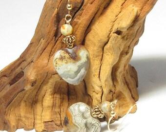 Crazy Lace Agate Heart Earrings - GF