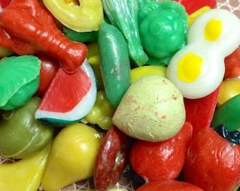 10pcs TINY PRETEND FOODS 1970s Vintage Plastic Kitsch