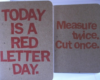 Set of two Measure Twice Red Letter Day notebooks notebook sketchbook planner book sketchbooks