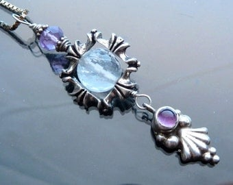Ice Crystal Icicle necklace in sterling silver with purple amethyst leaf ball dangle