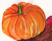 Pumpkin Watercolor Painting Original 5 x 7 inches fall decor, pumpkin art, food art, wall art, SharonFosterArt Farmhouse decor