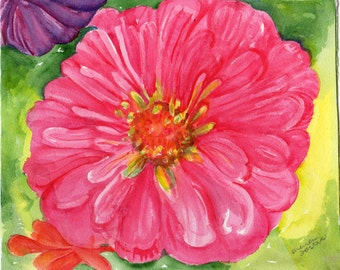 Zinnias Watercolor Painting Original 8 x 10  Watercolor Painting Pink Zinnia, floral art, flowers artwork, floral decor, zinnias painting