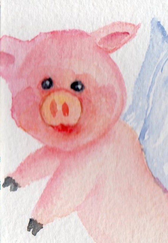 Original ACEO Flying Pig  Painting Watercolor - PIG ART