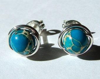 Aqua Blue Jasper Studs 6mm Aqua Terra Jasper Studs Post Earrings Wire Wrapped in Sterling Silver Stud Earrings