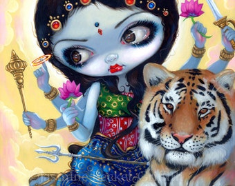 Durga and the Tiger hindu goddess fairy art print by Jasmine Becket-Griffith 8x10