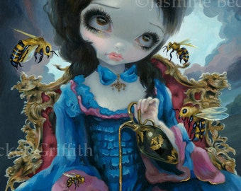Queen of Bees bumblebee honey princess rococo goth fairy art print by Jasmine Becket-Griffith 8x10