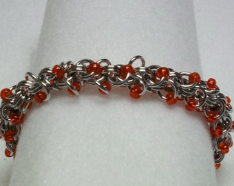 Shaggy Chainmaille Bracelet with Red Beads