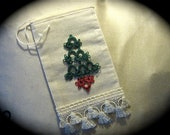 Christmas Holiday Muslin Bag for Gift Cards and Jewelry