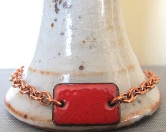 Red Bracelet, Enamel Bracelet, Enameled Copper, Copper Chain, Poppy Red, Chain Bracelet, Red Rectangle, Geometric Jewelry,