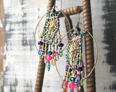 ON SALE - L'Artiste Earrings, Vintage Paisley Sequin Embroidery, Gold, Red, Blue, Green, Pink, Hoops, Bohemian Gypsy