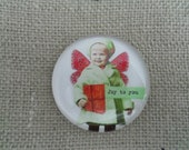 JOY TO YOU paper weight fairy mixed media collaged paper weight flat glass new handmade christmas gift