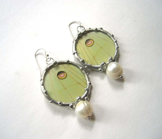 Luna Moth Earrings - Real Wings - RESERVED FOR JENNIFER