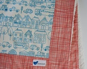 Baby Blanket with Cars in Blue and Red Summersville and Cream Minky