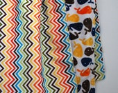 Chevron Baby Blanket with Whale Minky Cuddle