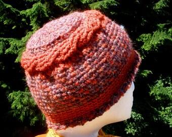 Circular Cable Crocheted Cap Rust Purple Orange Wool Alpaca Acrylic