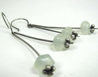 Prehnite, Sterling Silver, Wire wrapped, Earrings