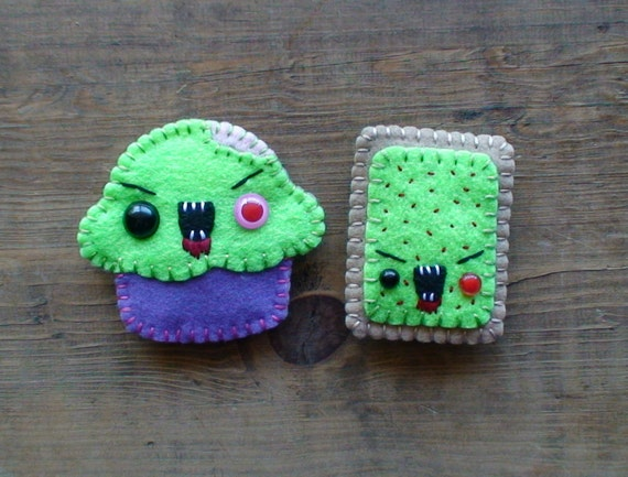 Zombie Cupcake and Pop Tart Magnets