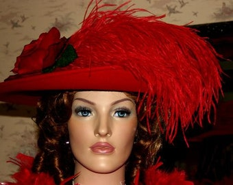 Edwardian Hat Downton Abbey Tea Hat Kentucky Derby Hat Ascot Hat Red Hat - Lady Yorkshire - Wide Brim Hat Womens