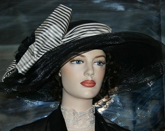 "Kentucky Derby Hat Edwardian Hat Ascot Hat Downton Abbey Hat Titanic Hat ""Lady Rose"" Black Tea Hat"